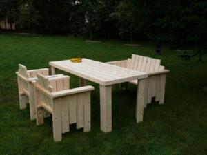 Meble ogrodowe drewniane ławka stół krzesło